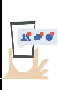 Auf diesem Bild sieht man eine Kommunikation , die aus Personen , Sprechblasen und einem runden blauen Button besteht. Diese Kommunikation ist abgebildet auf einem Handy das von einer Hand gehalten wird. Oberhalb der einzelnen Kommunikation Symbole sieht man kleine rote Kästchen in den man normalerweise die Anzahl der Anfragen sieht. Die Symbole sind in blau gehalten und der Hintergrund ist in hellblau.