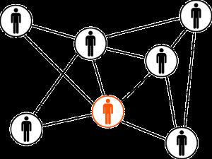 Auf diesem Bild sieht man mehrere Personen Karikaturen die in unterschiedlicher Höhe angeordnet sind, sie sind geschlechtsneutral. Eine Person davon ist in dem Farbton orange rot gehalten , die restlichen Personen sind in schwarz dargestellt. Die einzelnen Personen sind jeweils in einem Kreis dessen Hintergrund in weiß ist, die Kreise sind mit strichlinien miteinander verbunden so ähnlich wie eine Gitter Darstellung.
