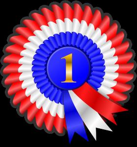 Auf diesem Bild sieht man eine sogenannte Preis Rosette, diese sind eigentlich aus dem Pferdesport Bereich bekannt, werden jedoch auch in vielen anderen Bereichen genutzt. Farblich ist das Ganze folgendermaßen aufgeteilt. In der Mitte ein blauer Kreis mit der Zahl 1 die in Gold geschrieben ist Punkt die außenrosette, die wellenförmig angeordnet ist, unterteilt sich von innen nach außen in den Farben blau weiß und rot Punkt Innenkreis und Außenkreis werden durch drei Bänder miteinander verbunden, die farblich aufeinander abgestimmt sind.