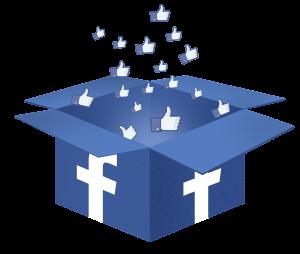 Auf diesem Bild sieht man einen geöffneten blauen Karton der ringsrum mit dem F von Facebook bedruckt ist . Aus dem geöffneten Karton gehen viele unterschiedlich große gefällt mir Daumen heraus, die durch die Luft fliegen . Der Hintergrund ist in Grau gehalten.