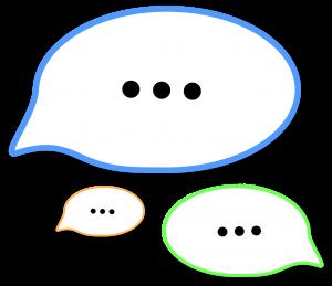 Auf diesem Bild sieht man drei unterschiedlich große Sprechblasen die jeweils mittig zentriert drei schwarze Punkte haben , das Kennzeichnen soll dass man sich unterhält bzw ein Gespräch stattfindet Punkt der Hintergrund hinter dem Blasen ist in hellgrau. Die Blasen sind so angeordnet dass man das Gefühl hat sie sein dreidimensional also sie würden in den Vordergrund springen.